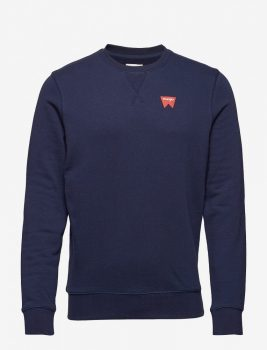 Wrangler férfi logómintás pulóver-Sötétkék